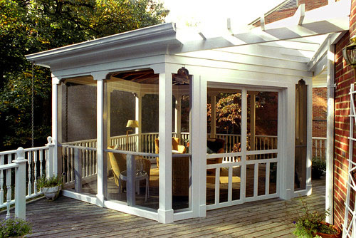 This Case Design/Remodeling Sun Porch Put A Screened Outdoor Room In The  Unused Corner Of The Homeu0027s Existing Deck. With A Permanent Shelter To  Protect ...