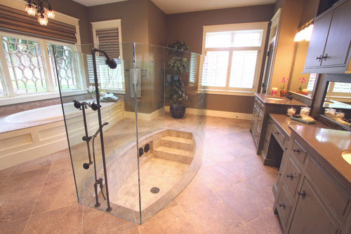 In Contrast, This Custom Shower Design By Visbeen Associates Has Combination  Shower Tub With An Atypical Approach. This Rowboat Style Sitting Tub  Combines ...